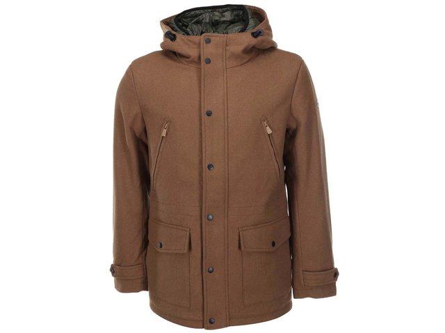 Hnědý vlněný kabát s kapucí ONLY & SONS