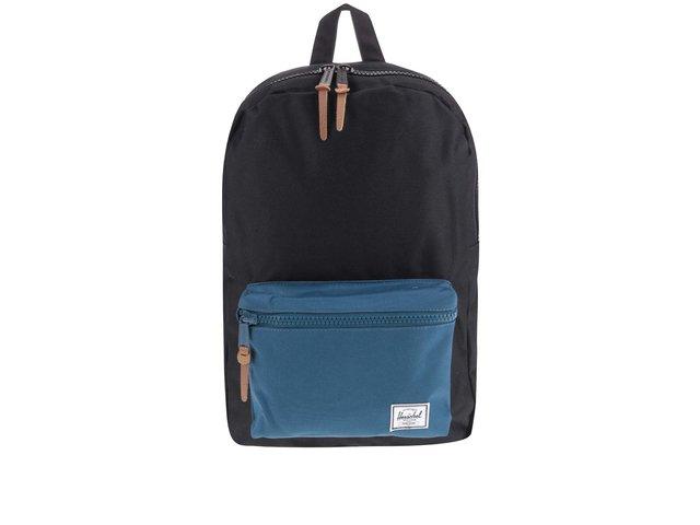 Černý batoh s modrou přední kapsou Herschel Settlement Mid-Volume