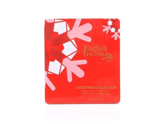 Plechová kazeta s čaji English Tea Shop Červené Vánoce