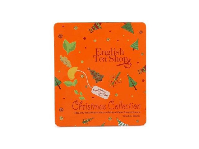 Plechová kazeta s bezkofeinovými čaji English Tea Shop Oranžové Vánoce