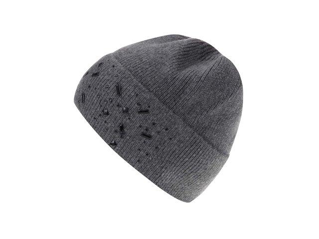 Šedá čepice s vysokým lemem s kašmírem INVUU London