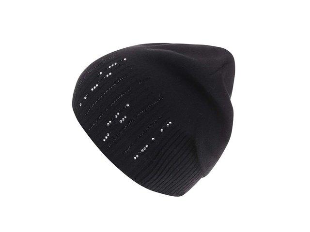 Černá čepice s kašmírem a s kamínky ve stříbrné barvě INVUU London
