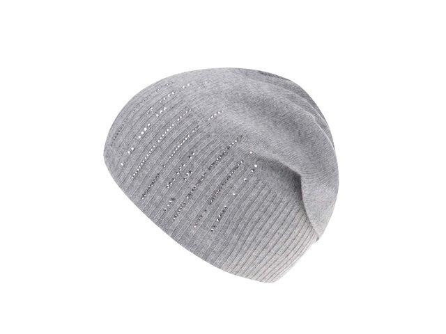 Šedá čepice s kašmírem a s kamínky ve stříbrné barvě INVUU London