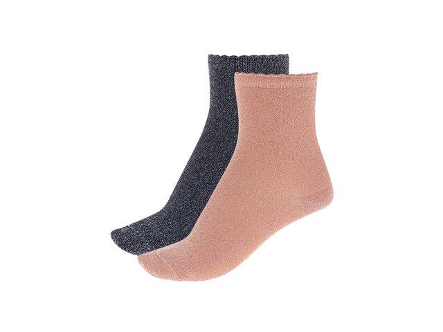 Dva páry metalických ponožek v modré a meruňkové barvě Pieces Sebby