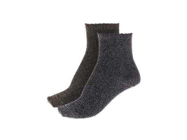 Dva páry metalických ponožek ve stříbrné a zlaté barvě Pieces Sebby