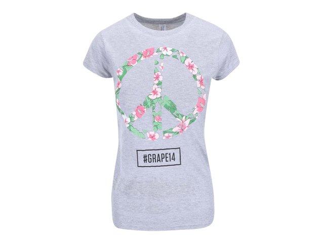 Šedé dámské tričko Grape Logo Square