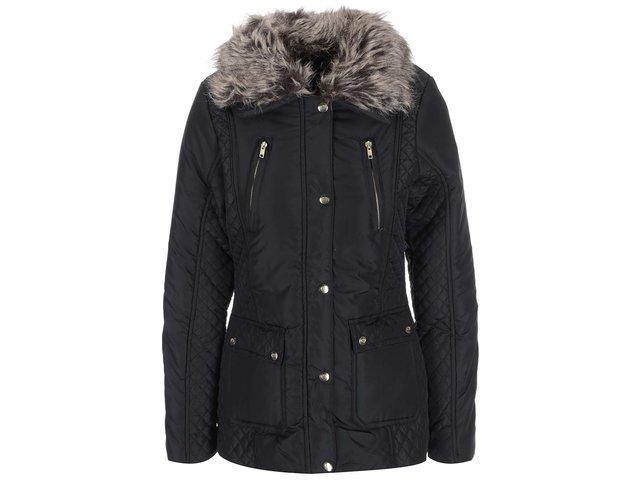Černá dámská bunda s kožíškem Brave Soul Bordeux