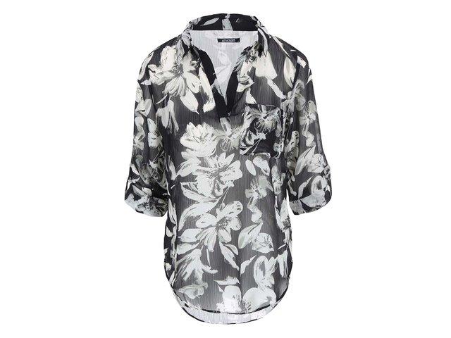 Bílo-černá květovaná halenka Haily´s Viola