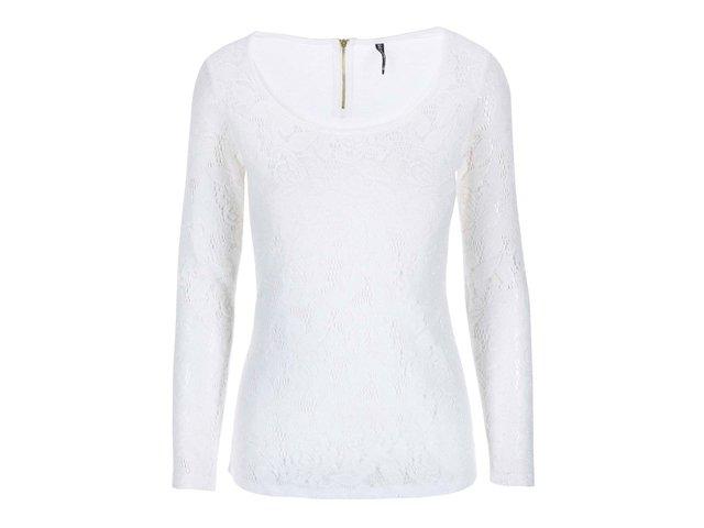 Bílé krajkované tričko s dlouhým rukávem Haily´s Hazel