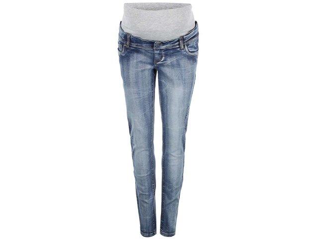 Světle modré těhotenské slim džíny s ošoupaným efektem Mama.licious Frey