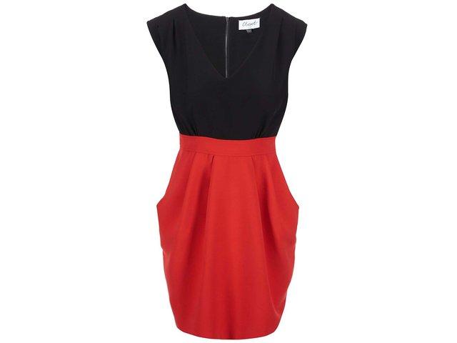 Černo-červené šaty se zavazováním Closet