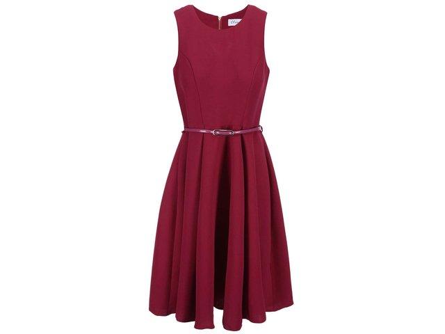 Malinové šaty s páskem Closet