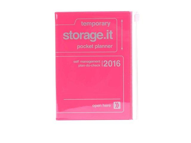 Růžový diář A6 2016 Mark's Storage.it