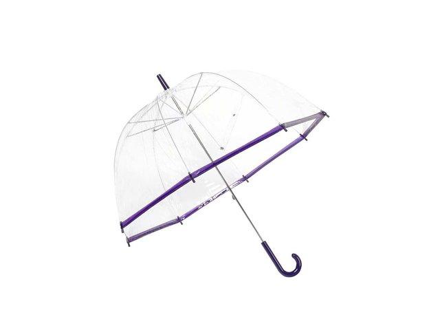 Průhledný deštník s fialovým lemem Lindy Lou SlimTrim