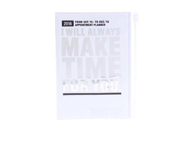 Bílý diář A6 2016 s nápisem ve stříbrné barvě Mark's Make Time