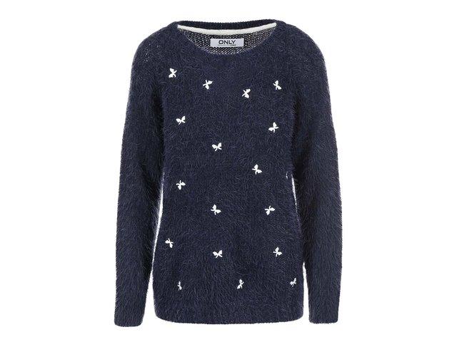 Tmavě modrý svetr s mašličkami ONLY Rosalie
