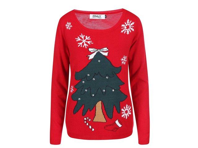 Červený svetr s vánočním stromečkem ONLY Tree