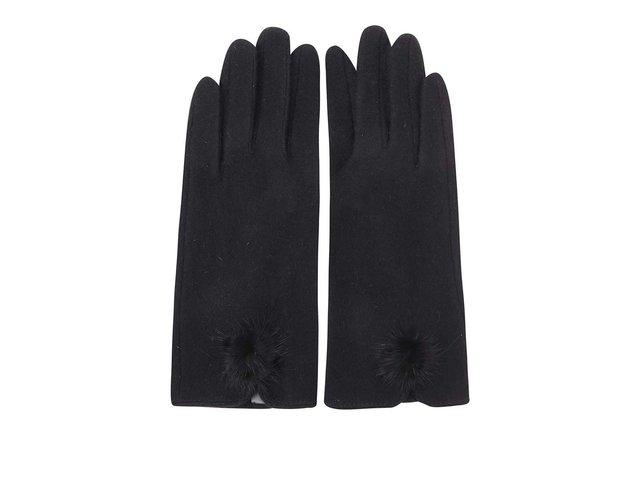 Černé dámské rukavice s malou bambulí INVUU London