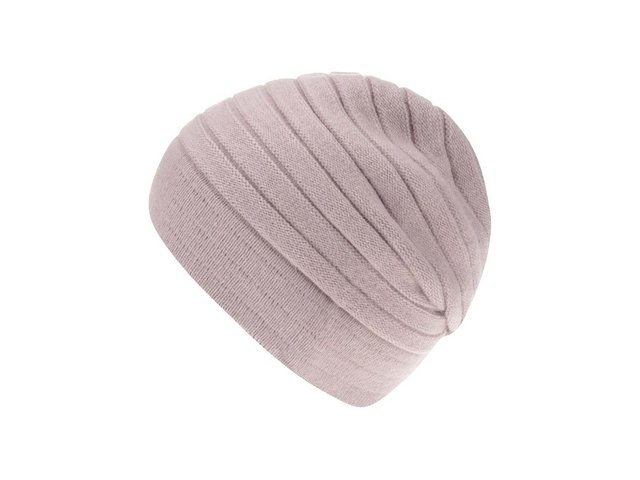 Starorůžová vzorovaná čepice s kašmírem INVUU London