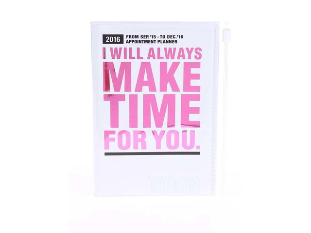 Bílý diář A6 2016 s růžovým nápisem Mark's Make Time