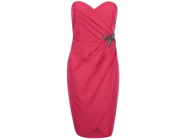 Růžové šaty bez ramínek Little Mistress