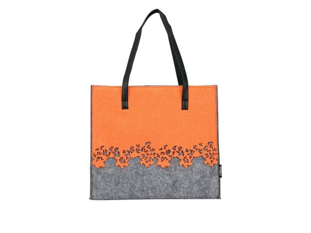 Šedá kabelka 2087 s oranžovou aplikací