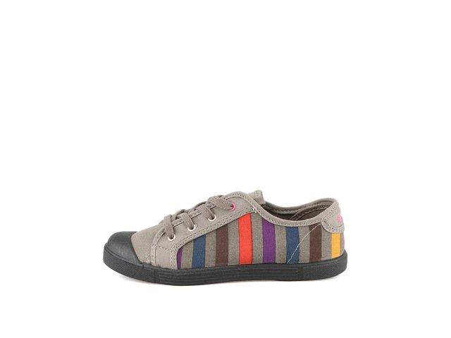 Šedé dámské tenisky s barevnými proužky Little Marcel Samba Print