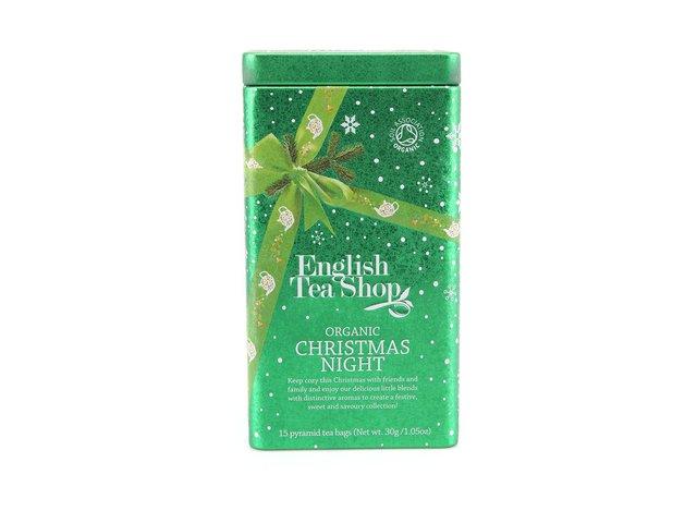 Bio čaje v plechové dóze English tea shop Vánoční noc
