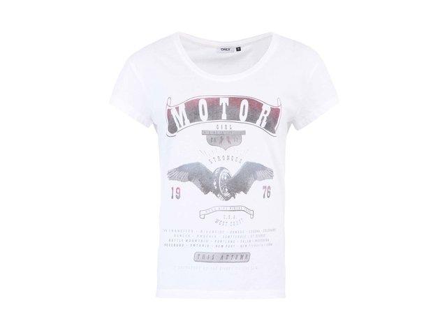 Bílé tričko s vintage potiskem ONLY Holly
