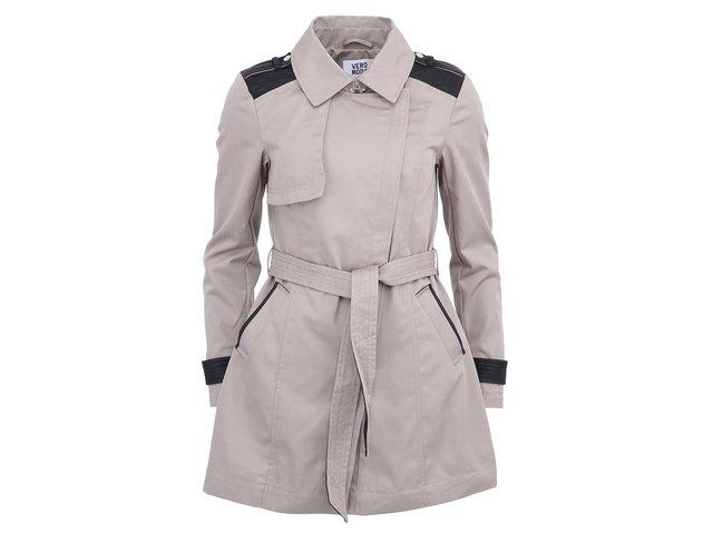 Šedý kabát s černým páskem Vero Moda Web