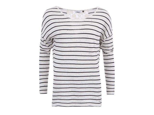 Béžové tričko s černými pruhy ONLY Jenny