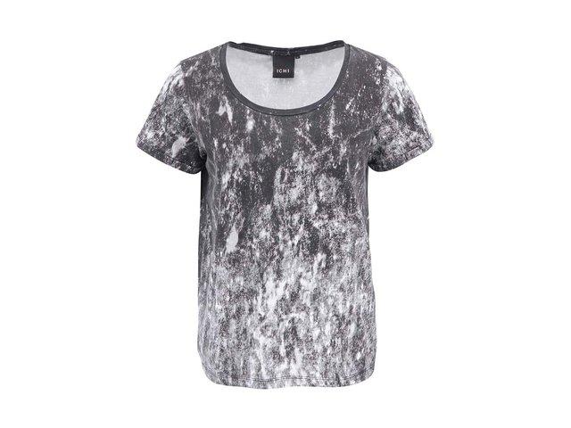 Černo-bílé tričko s acid potiskem ICHI Jooni