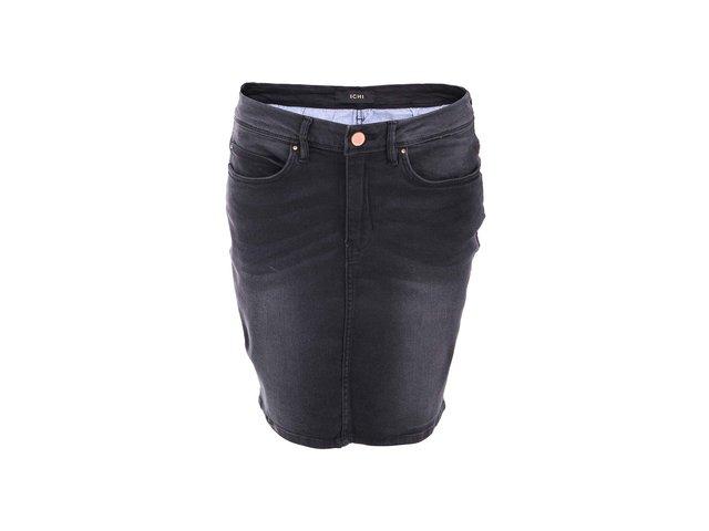 Černá sukně s ošoupaným efektem ICHI Idana