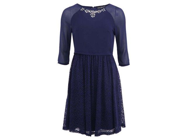 Tmavě modré šaty s krajkovou sukní Little Mistress