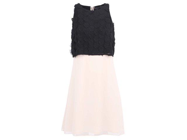 Černo-krémové šaty s aplikací ve výstřihu Little Mistress