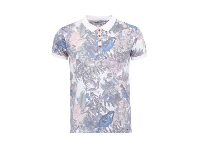 Bílé polo triko s potiskem ptáků !Solid