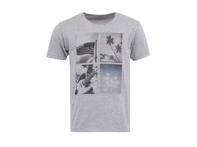 Světle šedé triko s potiskem Selected Roll