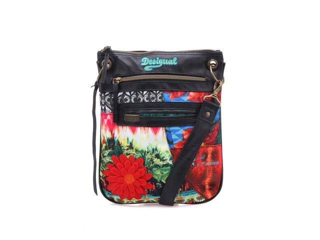 Barevná kabelka přes rameno s červenou květinou Desigual