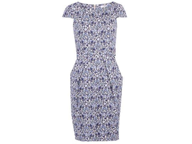 Bílé šaty s modrými květy a zavazováním v pase Closet