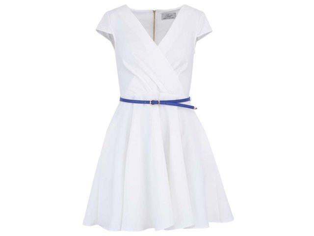 Bílé šaty s modrým páskem a kapsami Closet