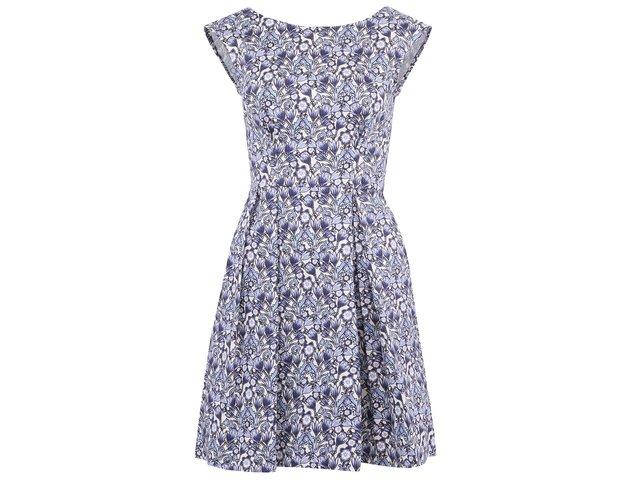 Bílo-modré šaty s květy a rozšířenou sukní Closet