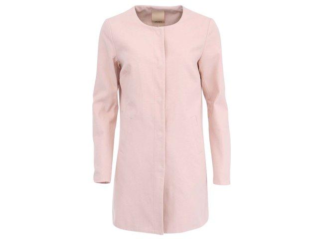 Světle růžový delší kabát ICHI Teval