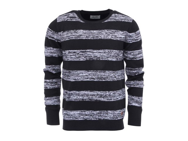 Černý svetr s bílými pruhy ONLY & SONS Lamuel