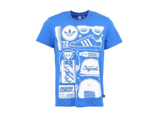 Modré pánské triko s potiskem adidas Originals Sst Look