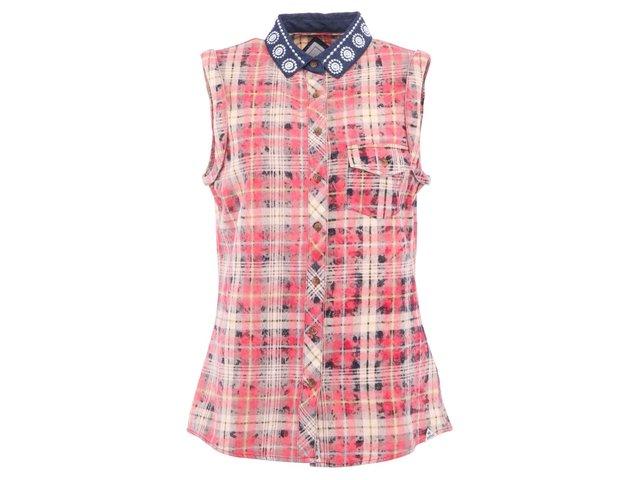 Růžová dámská kostkovaná košile bez rukávů Bellfield Sokoto