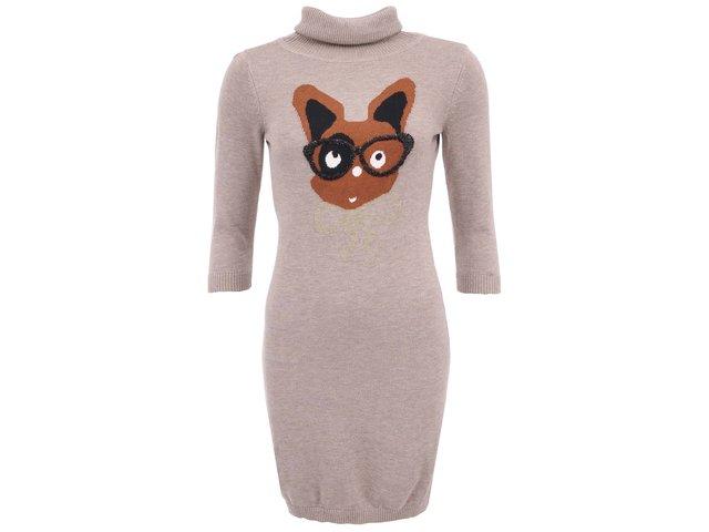 Béžové pletené šaty s hnědým zajíčkem GINGER+SOUL