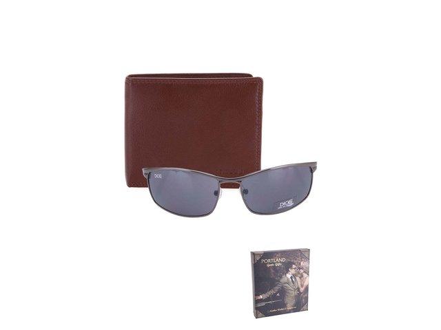 Sada s hnědou koženou peněženkou a slunečními brýlemi Portland