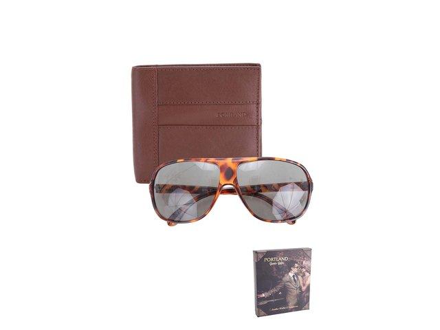 Sada s koženou peněženkou a želvovinovými slunečními brýlemi Portland