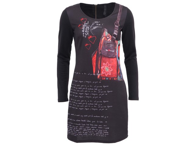 Černé šaty s nápisy Desigual Laura