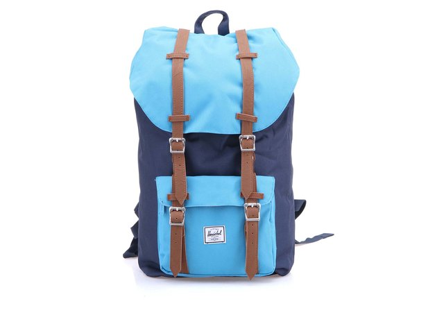 Tmavě modrý batoh s modrou kapsou Herschel Little America
